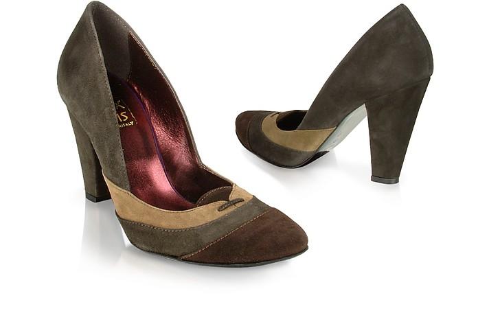 Tricolor Brown Suede Pump Shoes - Un Deux Trois