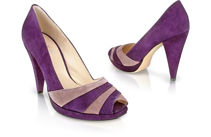 Two-tone Purple Suede Platform Pump Shoes - Un Deux Trois