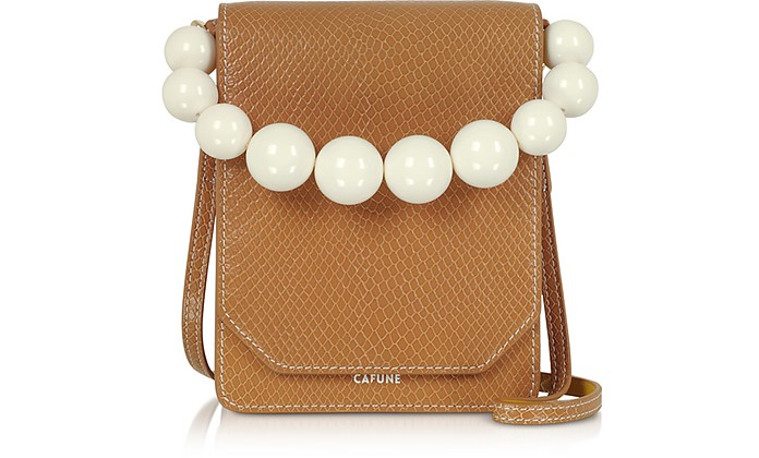 Caramel Leather Bellows Crossbody Bag - Cafuné