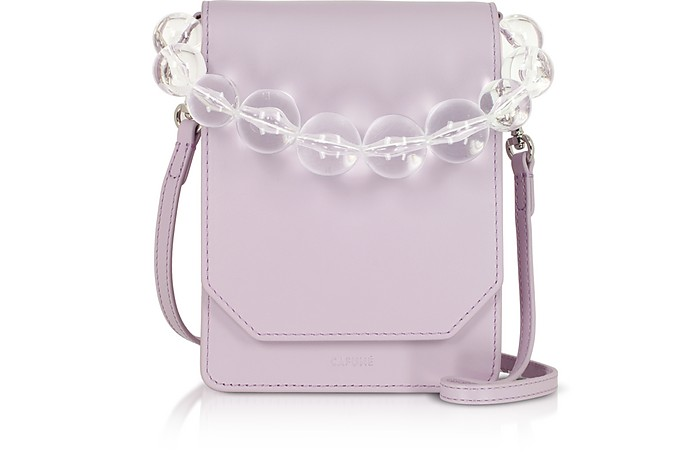 Lilac Smooth Leather Bellows Crossbody Bag - Cafuné