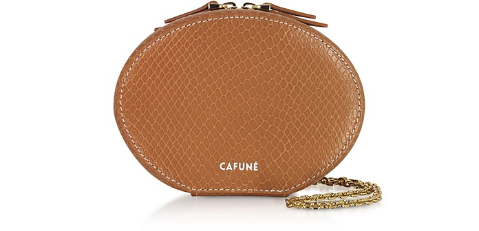 Caramel Leather Egg Chain Shoulder Bag - Cafuné