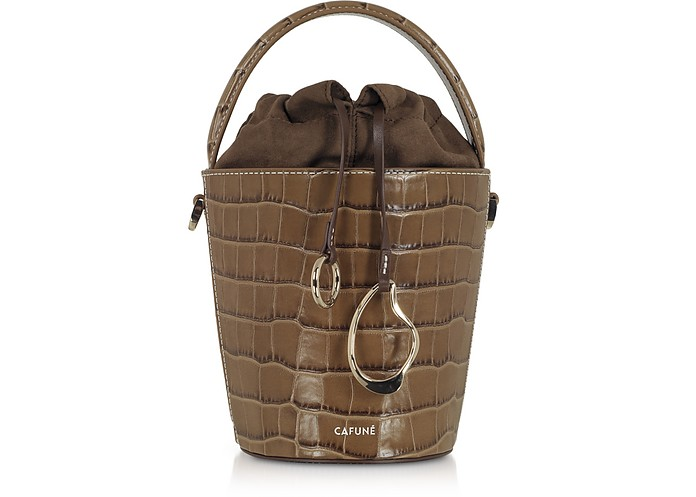 Walnut Croco Embossed Leather Mini Bucket Bag - Cafuné