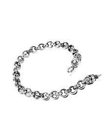 Sterling Silver Jail Chain and Skulls Bracelet