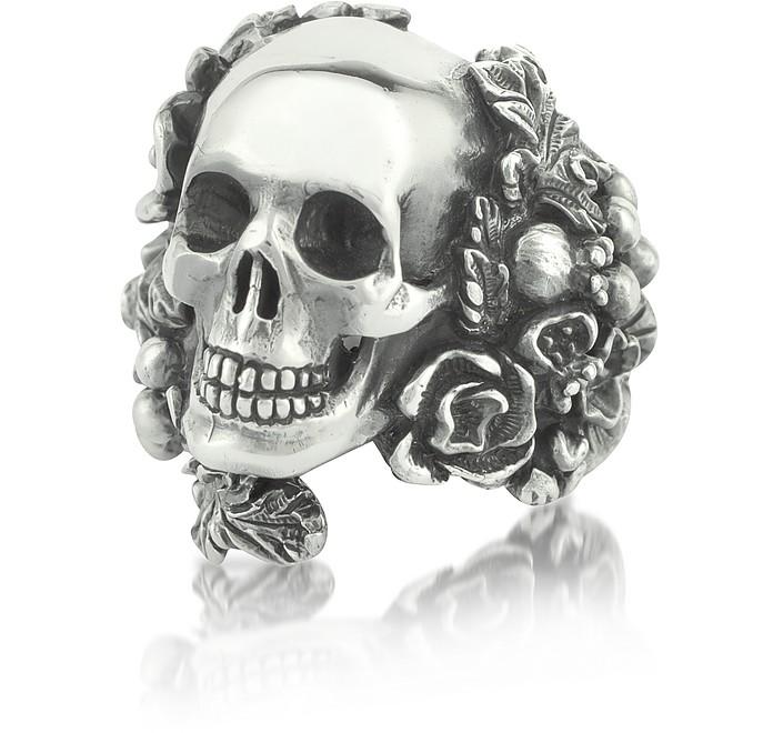 Sterling Silver Skull Foliage Ring - Ugo Cacciatori