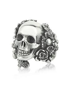 Sterling Silver Skull Foliage Ring