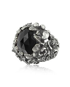 Sterling Silver and Onyx Bush Ring