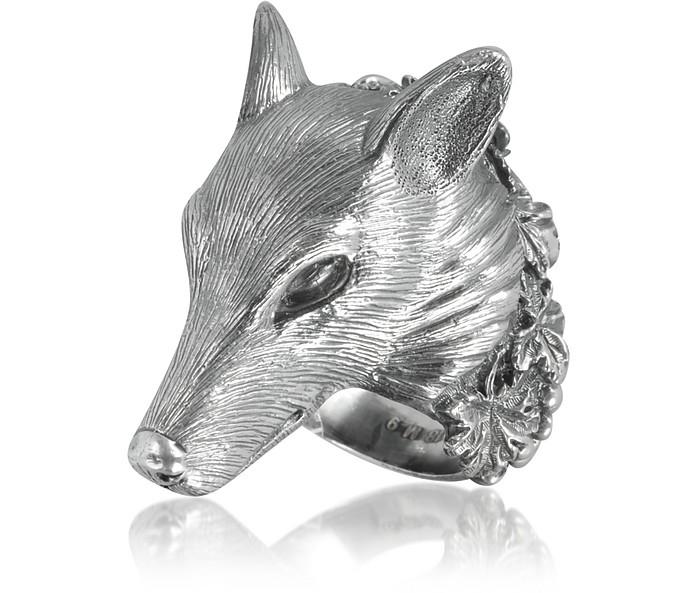 Sterling Silver Wolf Ring - Ugo Cacciatori