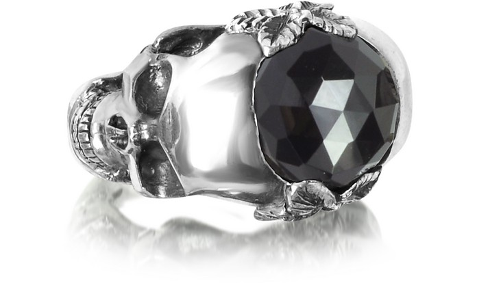 Sterling Silver and Onyx Double Skull Ring - Ugo Cacciatori