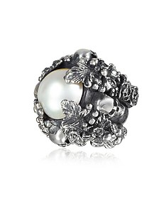 Sterling Silver and Light Pearl Foliage and Skulls Ring