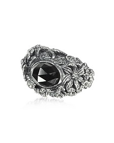 Onyx and Sterling Silver Foliage Solitaire Ring