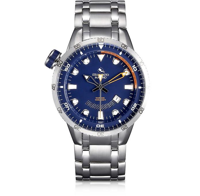 Warrior Stainless Steel Men's Watch w/Blue Dial - Strumento Marino