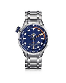 Warrior Stainless Steel Men's Watch w/Blue Dial - Strumento Marino