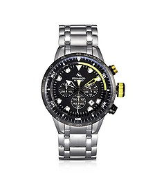 Warrior Chrono Stainless Steel Men's Watch w/Black Dial - Strumento Marino