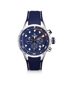 Warrior Chrono Stainless Steel and Silicone Men's Watch w/Blue Dial - Strumento Marino