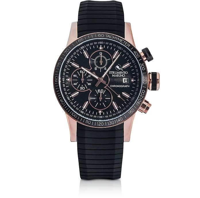 Admiral Black Silicone Chronograph Men's Watch - Strumento Marino
