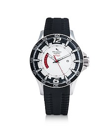 Hurricane 3 Hands Black Silicon Brushed Stainless Steel Men's Watch - Strumento Marino