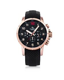 Summertime Rose Gold Pvd Stainless Steel and Black Silicone Men's Chronograph Watch - Strumento Marino