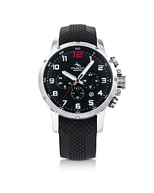 Summertime Stainless Steel and Black Silicone Men's Chronograph Watch - Strumento Marino