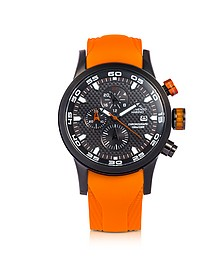 Speedboat Black Stainless Steel Men's Chronograph Watch w/Orange Silicone Band - Strumento Marino