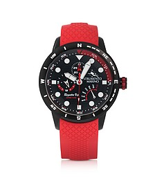 Regatta Vip Black Stainless Steel Men's Chronograph Watch w/Red Silicone Band - Strumento Marino