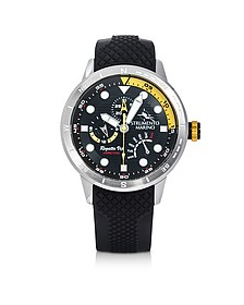 Regatta Vip Stainless Steel Men's Chronograph Watch w/Black Silicone Band - Strumento Marino