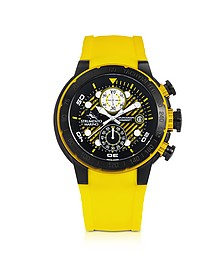 Saint-Tropez Black Stainless Steel Men's Chronograph Watch w/Yellow Silicone Band - Strumento Marino