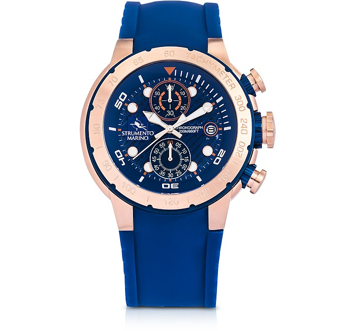 Saint-Tropez Rose Gold PVD Stainless Steel Men's Chronograph Watch w/Blue Silicone Band - Strumento Marino
