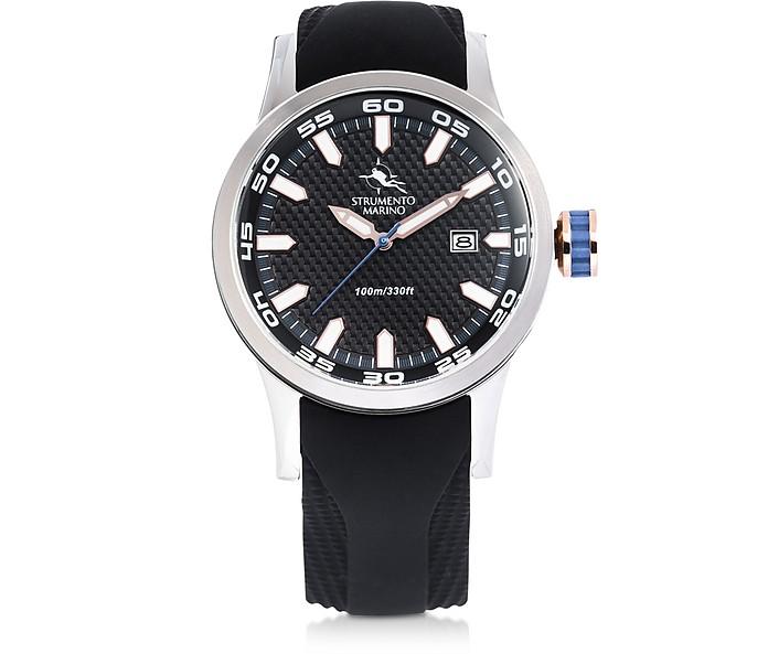 黑色和银色快艇不锈钢男士手表 - Strumento Marino