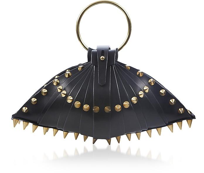 黑色皮革Warrior Shell手袋 - Una Burke