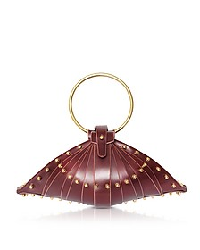 Burgundy Leather Shell Bag w/Studs - Una Burke