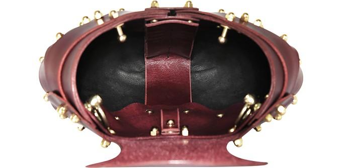Heart Bag in Pelle Merlot con Borchie Una Burke a1Yjkh6sQ