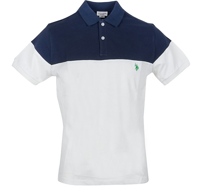 Blue & White Piqué Cotton Men's Polo Shirt - U.S. Polo Assn.
