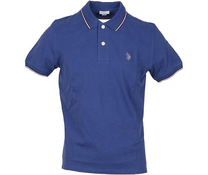Bright Blue Piqué Cotton Men's Polo Shirt - U.S. Polo Assn.