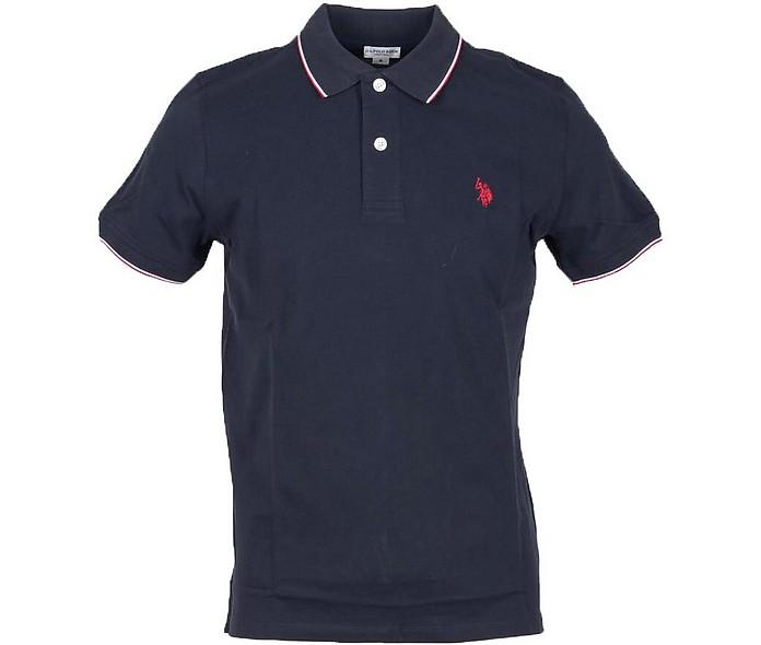Midnight Blue Piqué Cotton Men's Polo Shirt - U.S. Polo Assn.