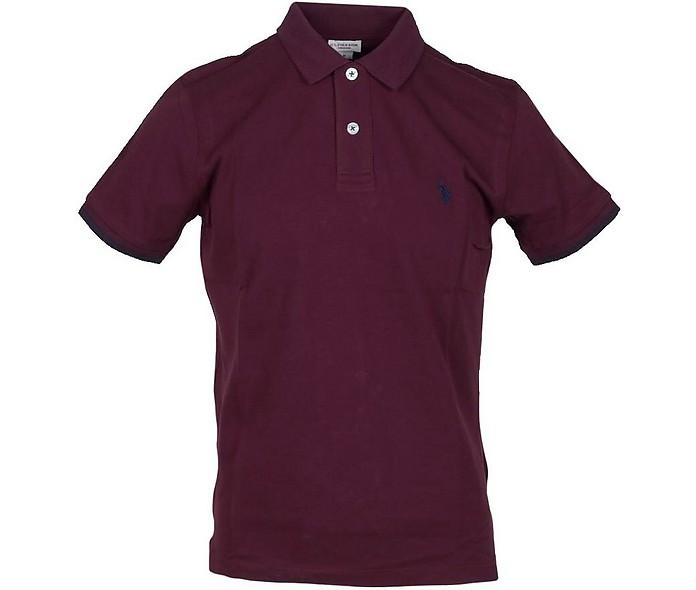 Burgundy Piqué Cotton Men's Polo Shirt - U.S. Polo Assn.