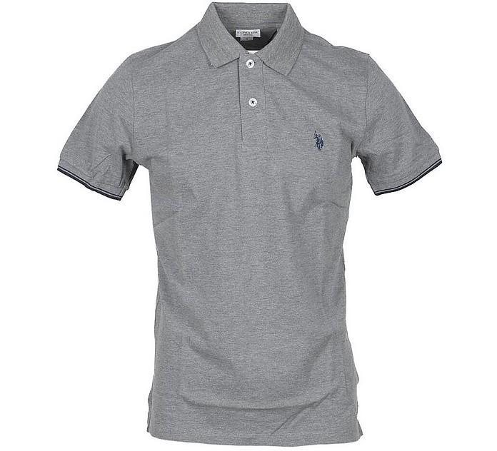 Light Gray Piqué Cotton Men's Polo Shirt - U.S. Polo Assn.