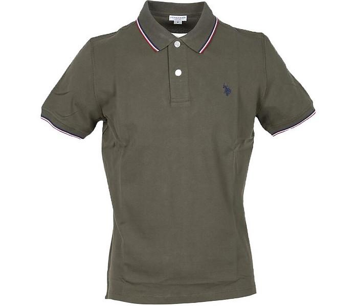 Military Green Piqué Cotton Men's Polo Shirt - U.S. Polo Assn.