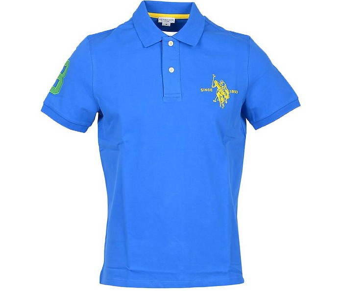 Electric Blue Piqué Cotton Men's Polo Shirt - U.S. Polo Assn.