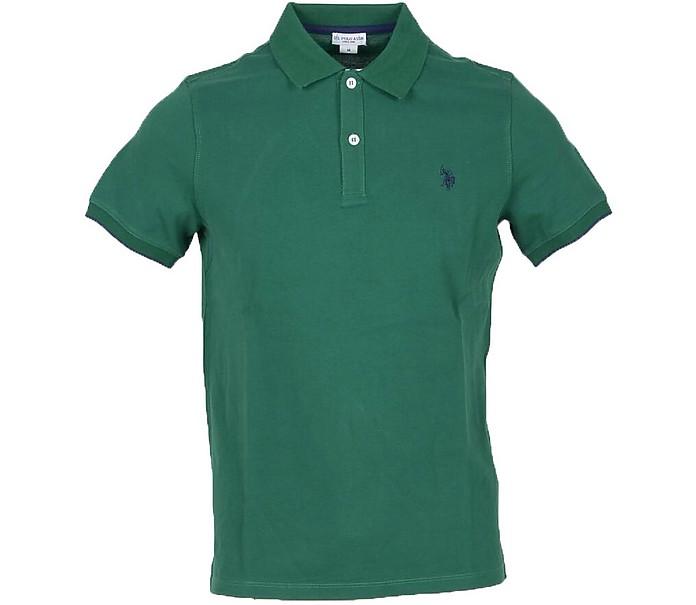 Forest Green Piqué Cotton Men's Polo Shirt - U.S. Polo Assn.