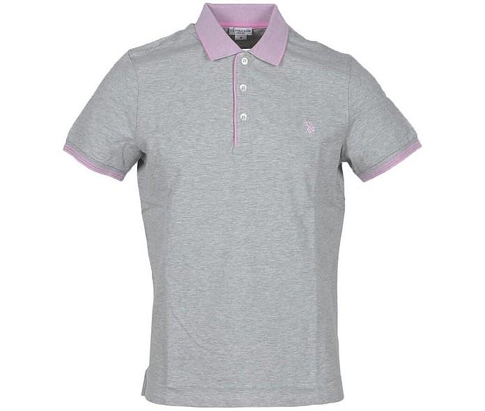 Melange Gray Piqué Cotton Men's Polo Shirt - U.S. Polo Assn.
