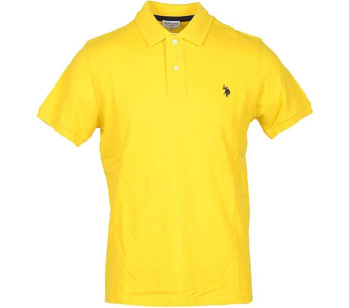 Sun Yellow Piqué Cotton Men's Polo Shirt - U.S. Polo Assn.