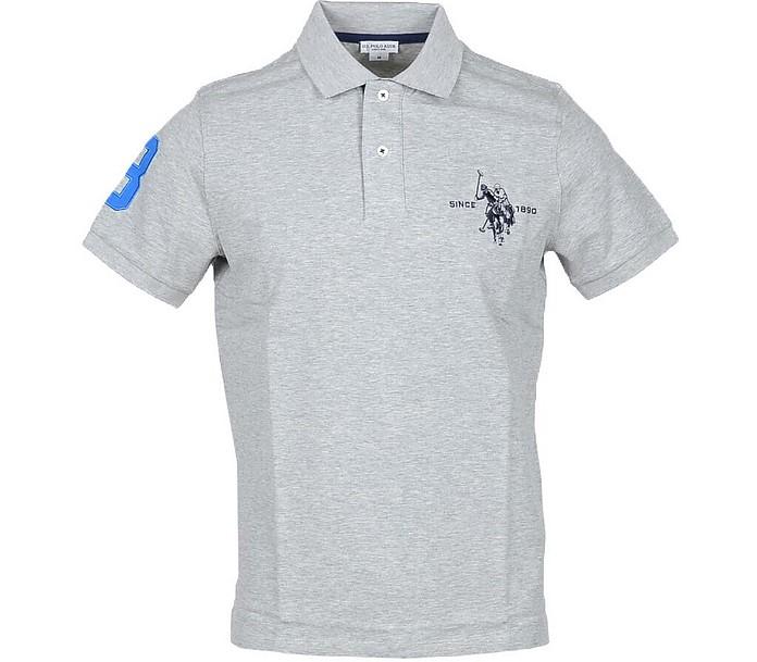 Gray Piqué Cotton Men's Polo Shirt - U.S. Polo Assn.