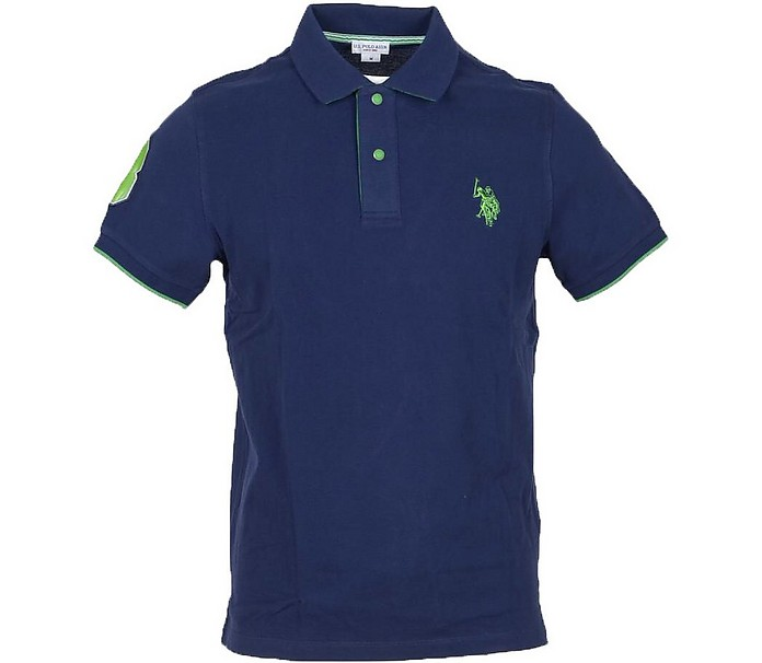 Dark Blue Piqué Cotton Men's Polo Shirt - U.S. Polo Assn.