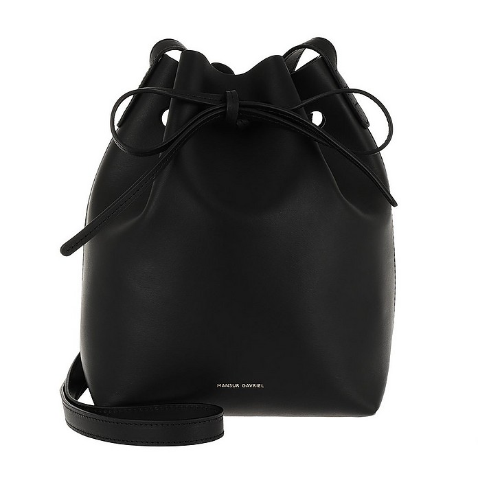 Mini Bucket Bag Leather Black Raw - Mansur Gavriel