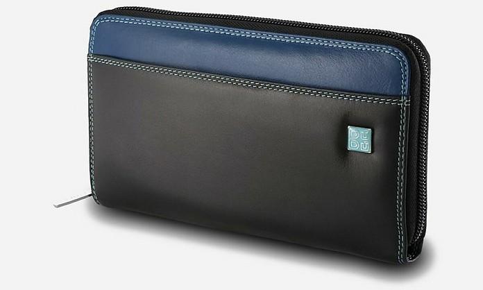 Black Leather Zip Around Large Wallet - Dudubags