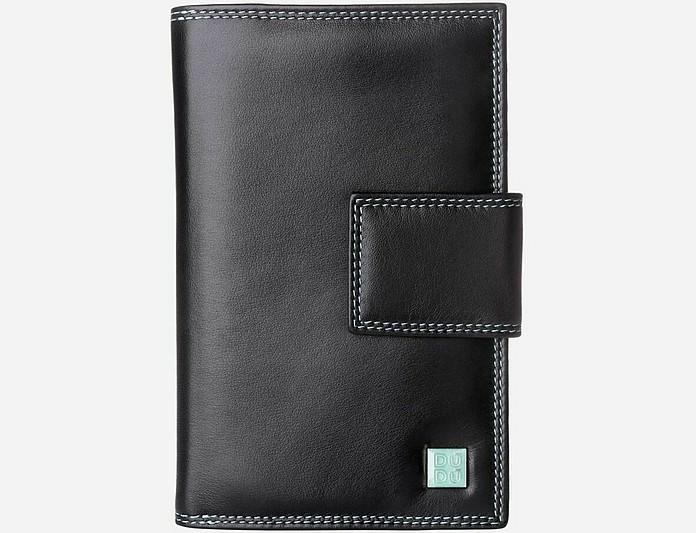 Black Tri-Fold Wallet w/Zip Pocket & ID Window - Dudubags