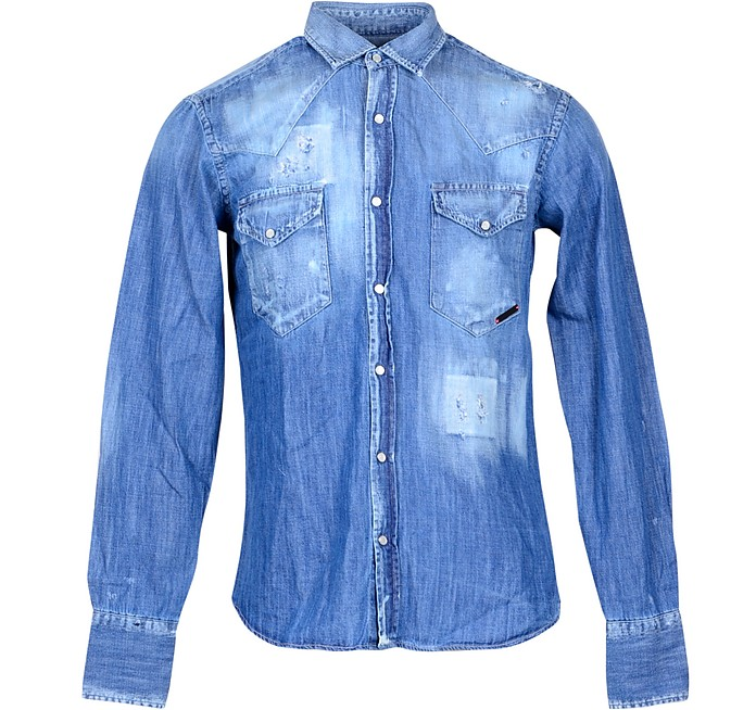 Distressed Blue Denim Men's Shirt w/Front Pockets - Takeshy Kurosawa
