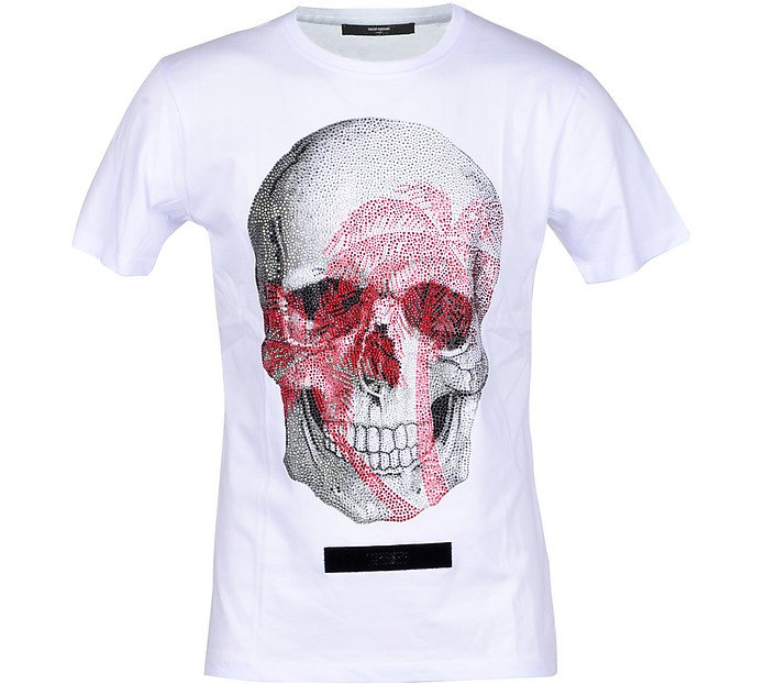 Skull Print White Cotton Men's T-shirt - Takeshy Kurosawa
