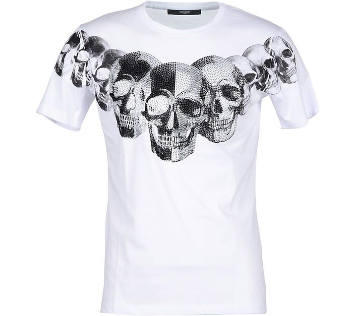 Skull Print White Cotton Men's T-shirt - Takeshy Kurosawa