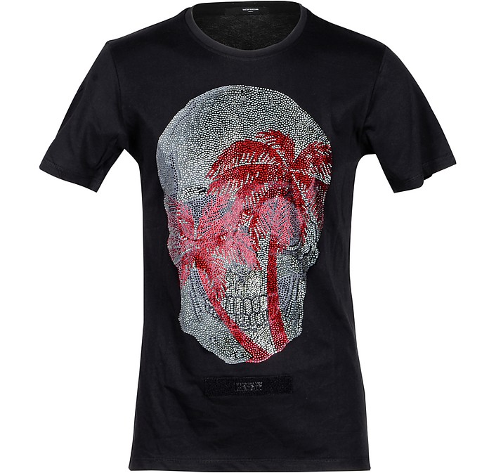 Skull Print Black Cotton Men's T-shirt - Takeshy Kurosawa